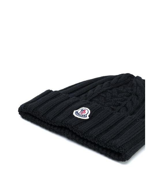 Moncler ロゴ ビーニー Black