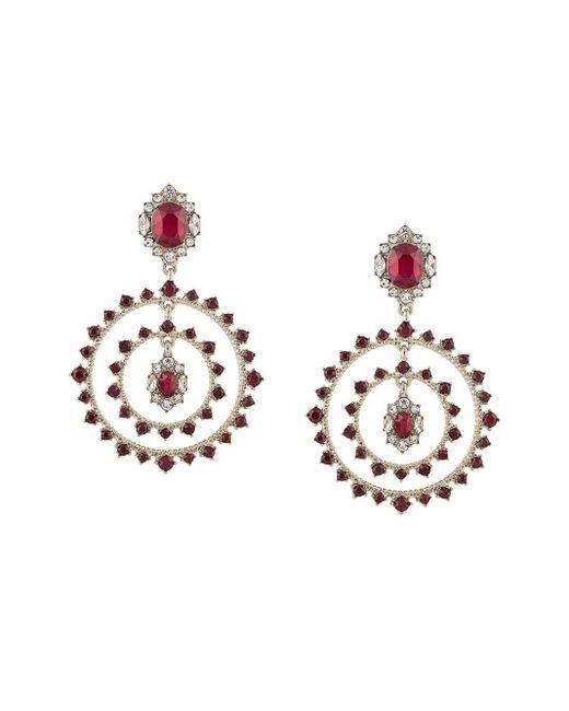 Marchesa notte Multicolor Double-hoop Drop Crystal Earrings