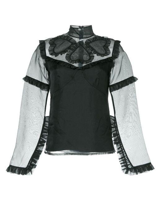 Blouse Queen of Hearts Macgraw en coloris Black