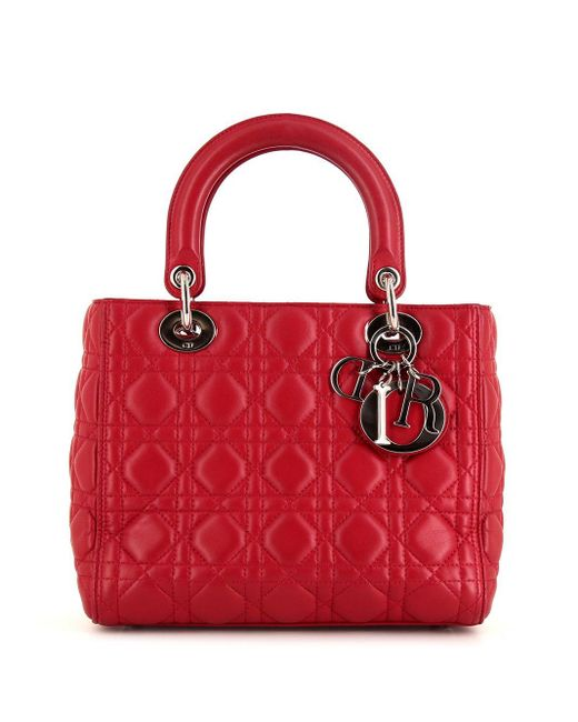 Borsa tote Lady Dior Cannage Pre-owned di Dior in Pink