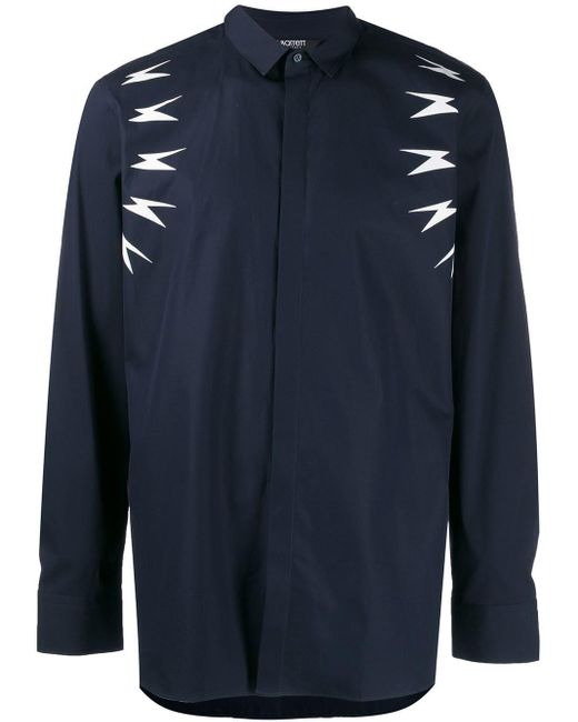 Neil Barrett Blue Lightning Bolt Shirt for men