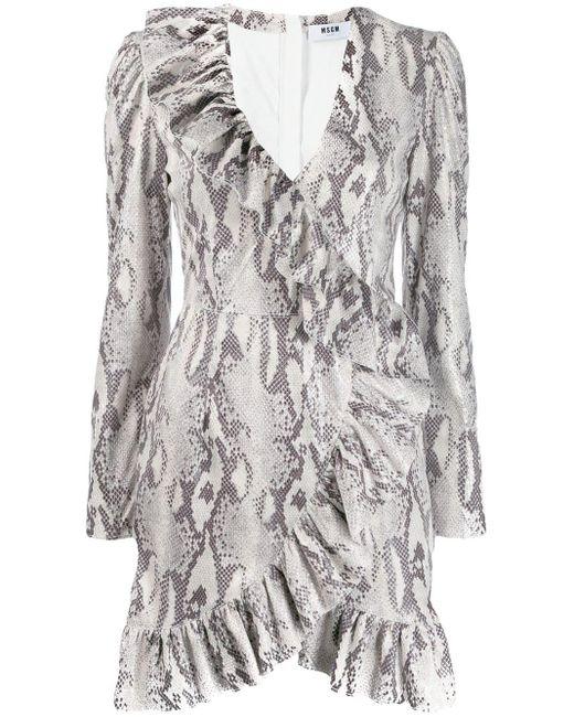 MSGM スネークプリント ドレス Multicolor