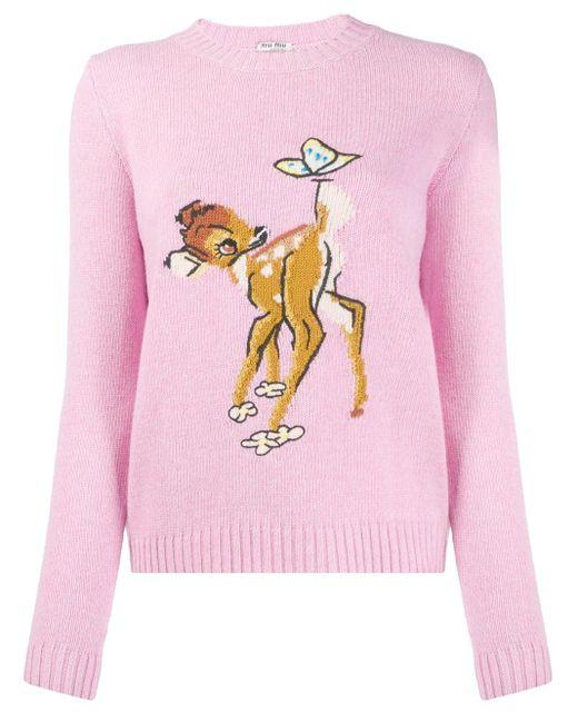 Miu Miu Bambi モチーフプルオーバー Pink