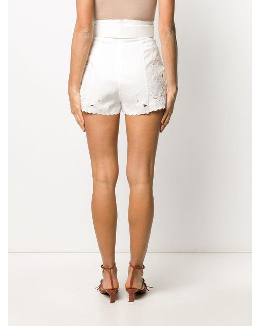 Zimmermann Women's White Peggy Embroidered High-rise Shorts