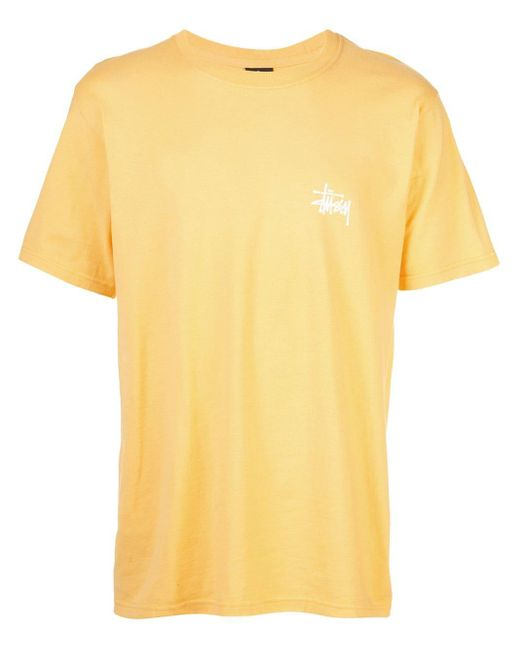 メンズ Stussy ロゴ Tシャツ Yellow
