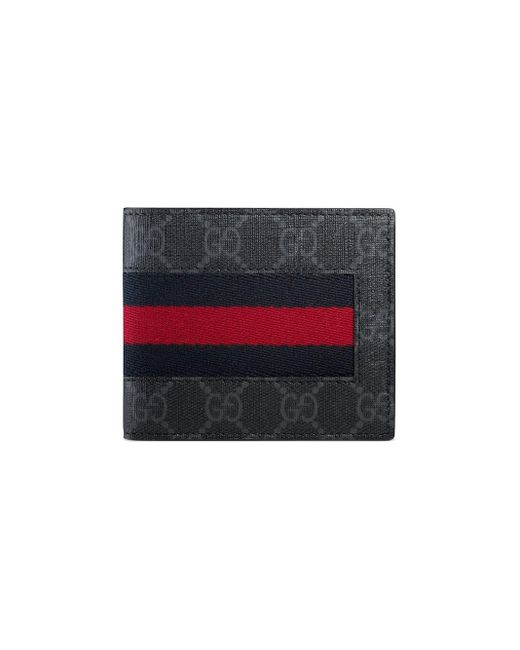 Gucci Black Gg Supreme Web Bi-fold Wallet for men