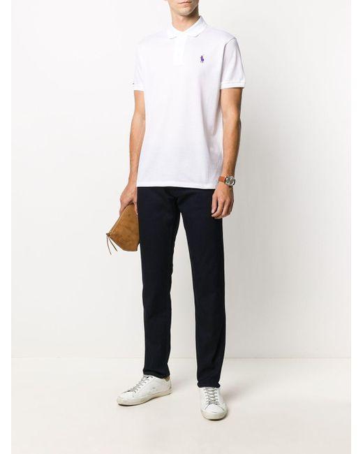 メンズ Ralph Lauren Purple Label ロゴ ポロシャツ White