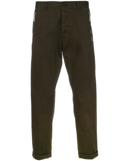 DSquared² - Green Cropped Zip Trousers for Men - Lyst