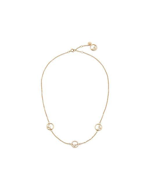 Fendi Metallic Short Logo Charm Necklace