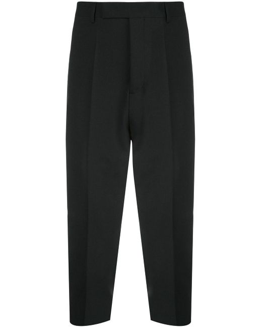 Rick Owens Black Cropped Pleated Trousers for men