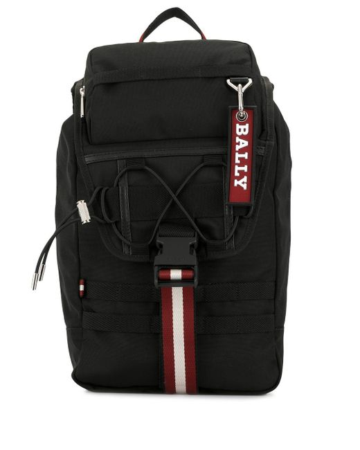 Bally Black Buckled Logo Backpack for men