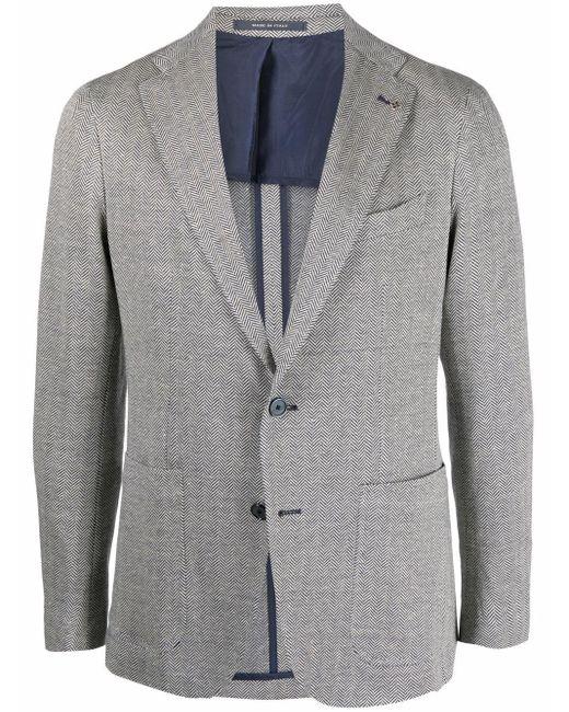 メンズ Tagliatore ヘリンボーン シングルジャケット Blue