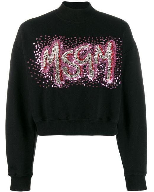 MSGM スパンコール スウェットシャツ Black