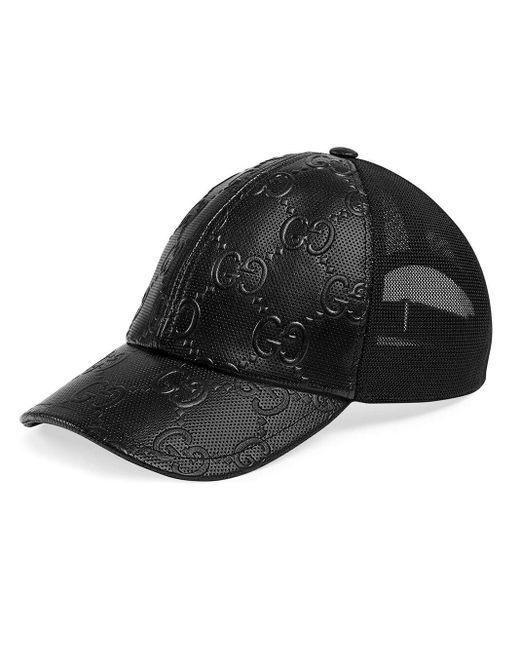 Gucci 【公式】 (グッチ)GGエンボス ベースボールキャップブラック レザーブラック Black