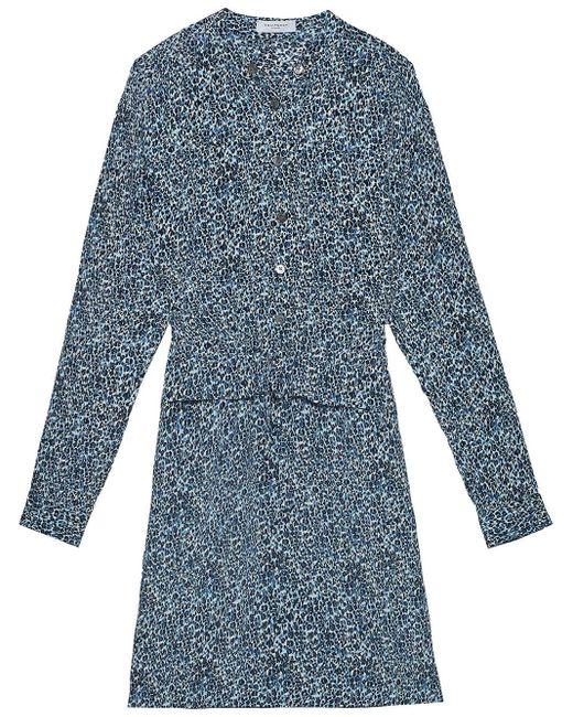 Equipment Lizza レオパード ドレス Blue