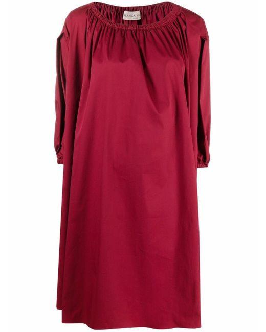 Blanca Vita シャーリング シフトドレス Red