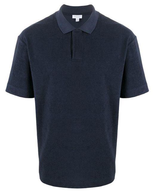 メンズ Sunspel コットンテリー ポロシャツ Blue