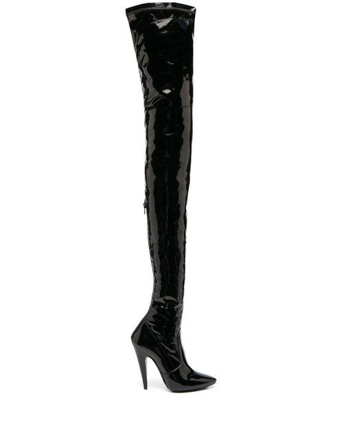 Лакированные Ботфорты Aylah Saint Laurent, цвет: Black