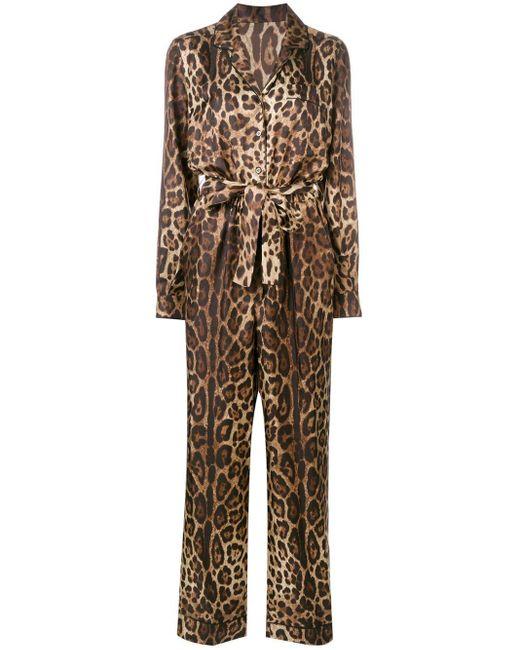 Dolce & Gabbana レオパード ジャンプスーツ Brown