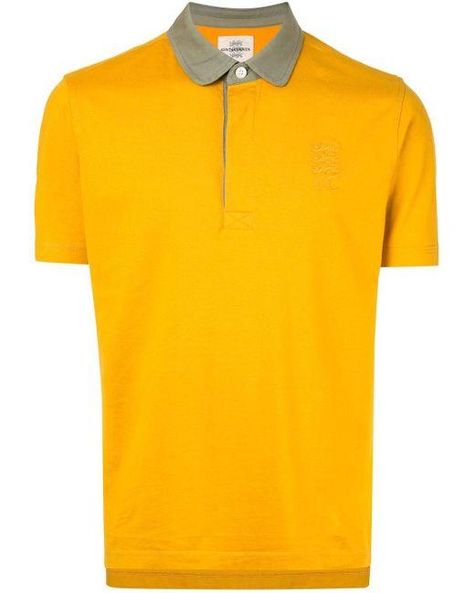 メンズ Kent & Curwen コントラストカラー ポロシャツ Yellow
