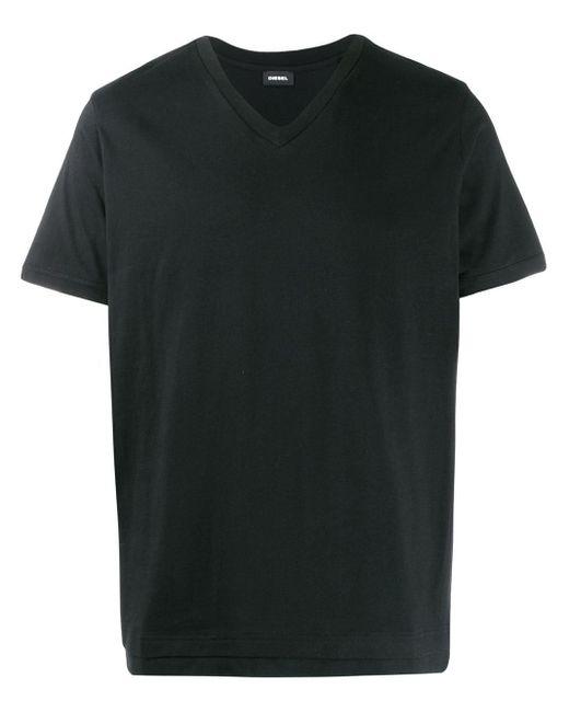 メンズ DIESEL ダブルヘム Tシャツ Black