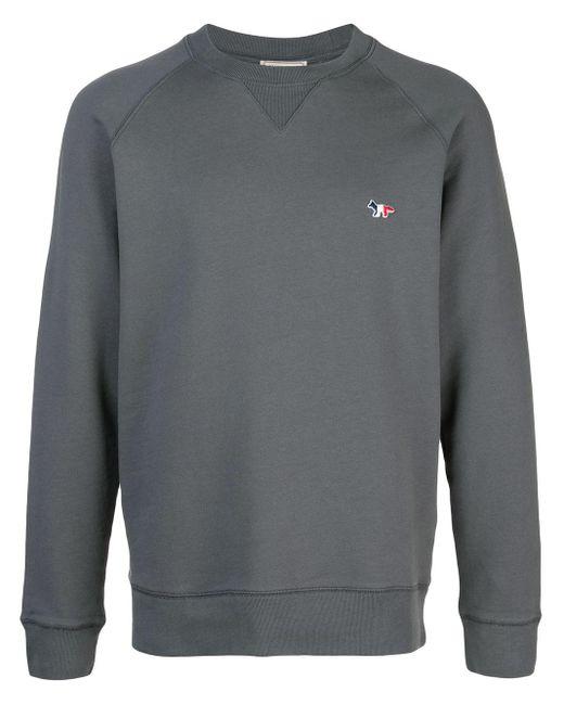 Maison Kitsuné Gray Tricolour Fox Sweatshirt for men
