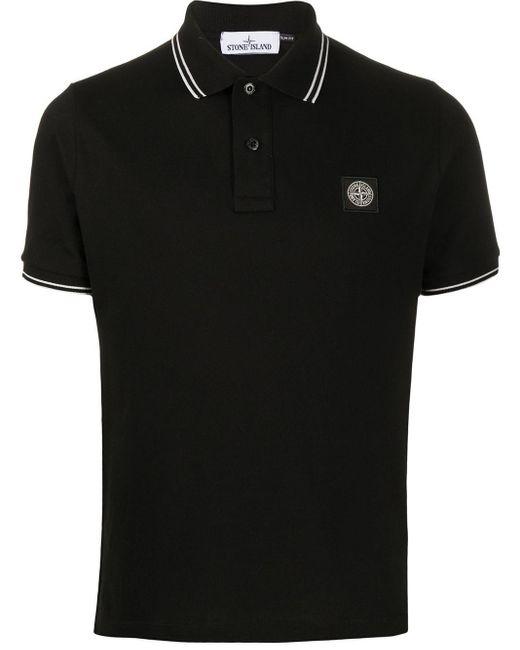 メンズ Stone Island ロゴパッチ ポロシャツ Black