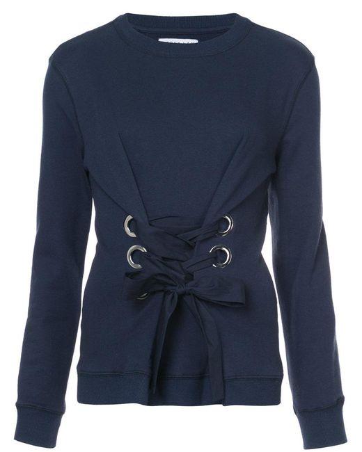 10 Crosby Derek Lam   Blue Crewneck Sweatshirt With Lacing Detail   Lyst