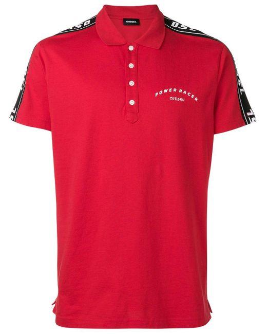 メンズ DIESEL サイド ストライプ ポロシャツ Red