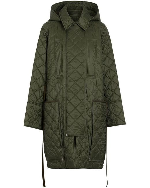 e4a74d7565f2a Burberry - Green Diamond Quilted Hooded Coat - Lyst ...