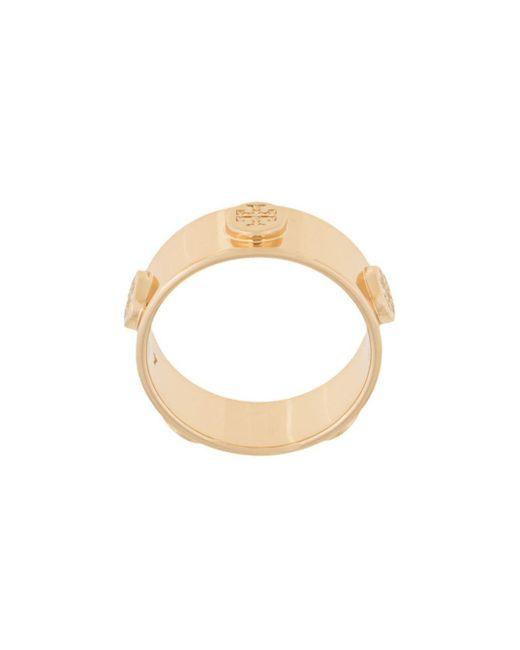 Tory Burch Metallic Logo Stud Ring