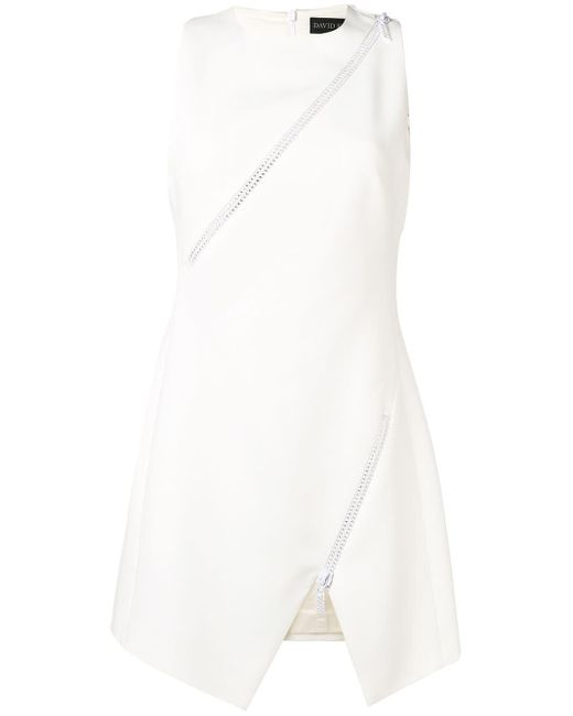 David Koma - White Zip-embellished Crepe Dress - Lyst