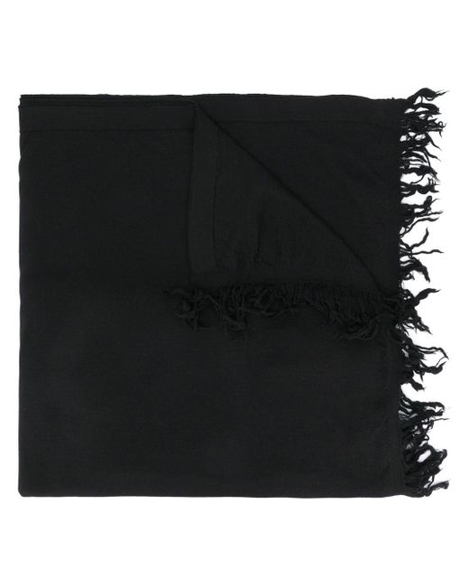 Rick Owens フレイドヘム スカーフ Black