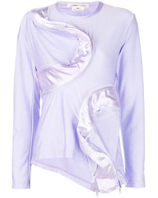 Comme des Garçons Purple Asymmetric Zipped Top