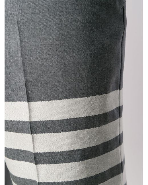 メンズ Thom Browne ミディアムグレー 平織スーチング クラシック 4bar トラウザー Gray