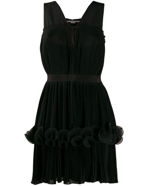 Stella McCartney ラッフルレイヤード プリーツドレス Black
