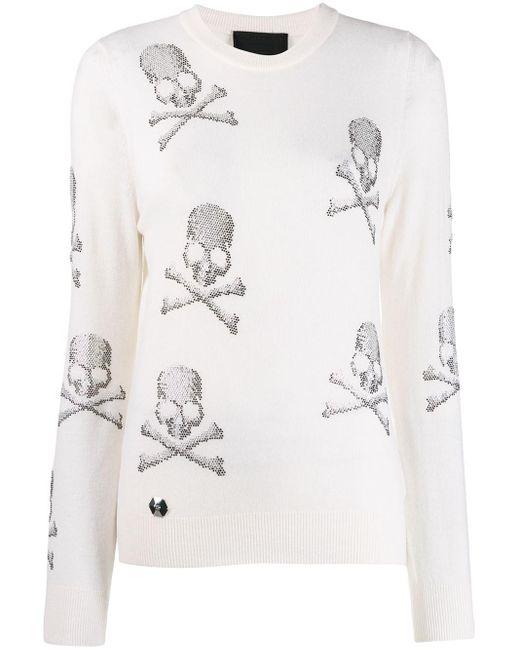 Толстовка С Принтом Skull Philipp Plein, цвет: White