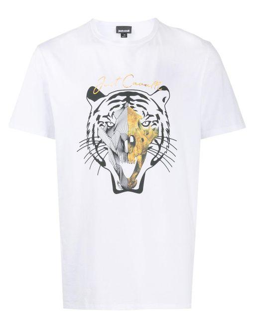 メンズ Just Cavalli タイガー Tシャツ White