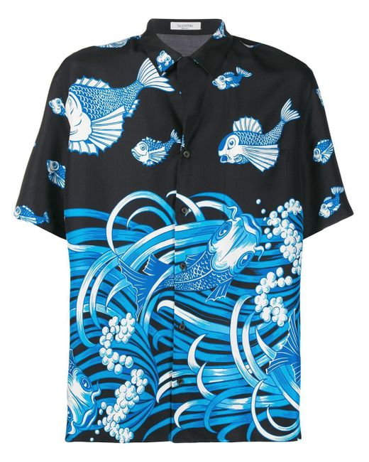 """Valentino Hemd mit """"Fishrain""""-Print in Blue für Herren"""