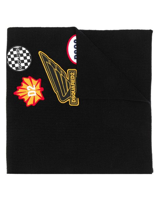 DSquared² Black Multi-patch Knitted Scarf for men