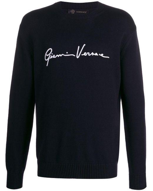 メンズ Versace ロゴ プルオーバー Blue