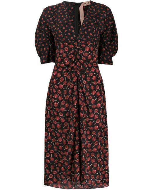 Платье С Цветочным Принтом N°21, цвет: Black