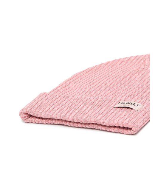 Twin Set ロゴパッチ ビーニー Pink