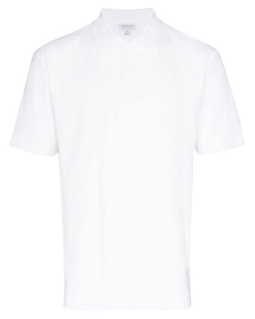 メンズ Sunspel コットン ポロシャツ White