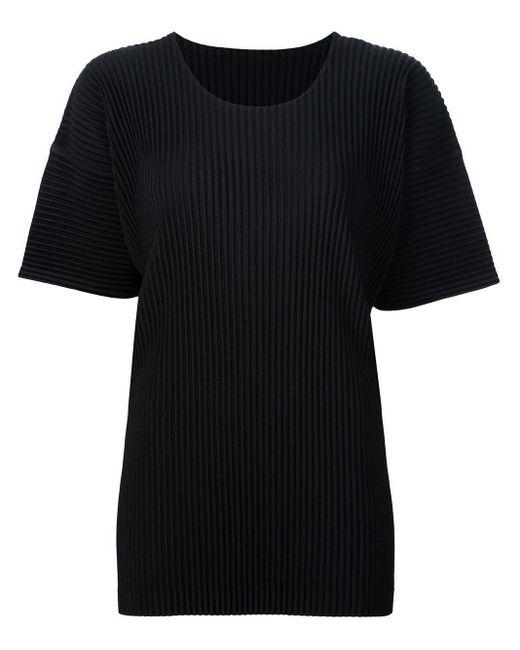 メンズ Homme Plissé Issey Miyake プリーツtシャツ Black