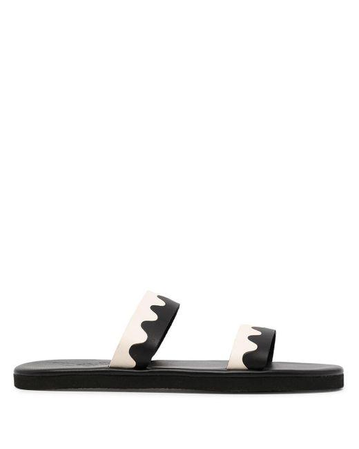 Ancient Greek Sandals Black Paralia Two-tone Straps Sandals for men