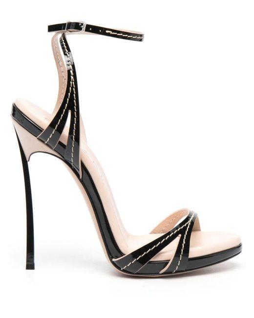 Casadei Black Contrast-stitch Sandals