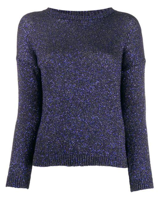 Свитер С Круглым Вырезом И Блестками Saint Laurent, цвет: Blue