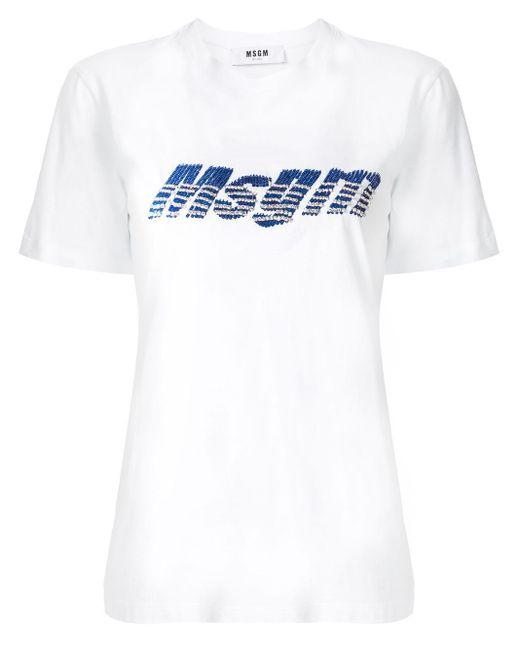 MSGM スパンコールロゴ Tシャツ White