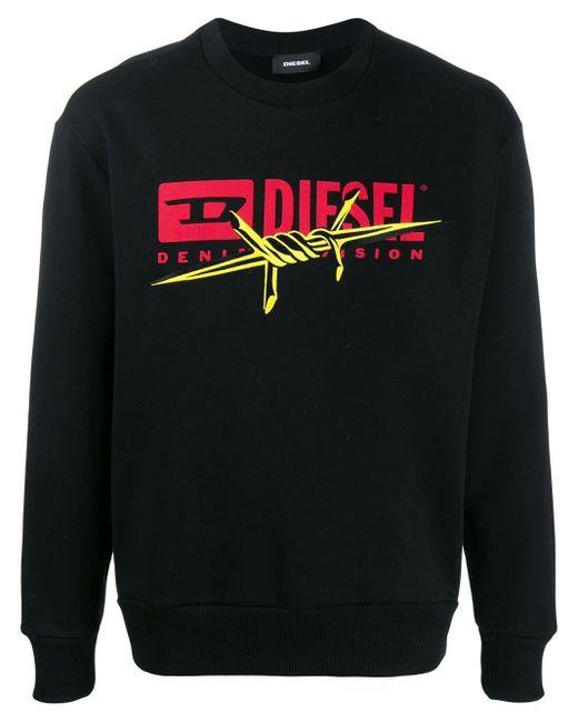 メンズ DIESEL ロゴ スウェットシャツ Black
